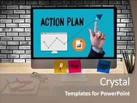 PPT layouts featuring action plan action plan strategy background and a gray colored foreground.