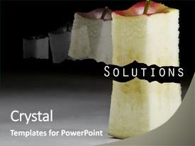 Presentation with action plan - deliciously juicy cut apple background and a gray colored foreground.