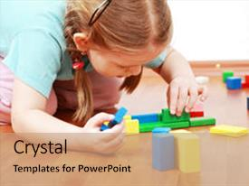 Presentation consisting of adorable girl playing with blocks background and a coral colored foreground.