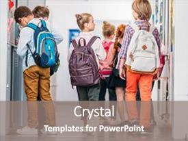 PPT layouts consisting of little kids walking through school background and a gray colored foreground