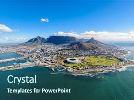 Amazing PPT theme having aerial view of cape town south africa on a sunny afternoon photo taken from a helicopter during air tour of cape town backdrop and a ocean colored foreground.