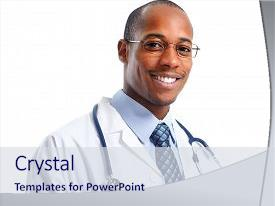 Presentation design with african-american medical doctor man background and a sky blue colored foreground