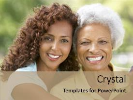 Audience pleasing PPT theme consisting of african american - senior woman with adult daughter backdrop and a coral colored foreground.
