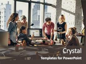 Amazing slide set having african descent brainstorming working workplace backdrop and a dark gray colored foreground.
