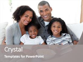 Presentation design consisting of afro-american family watching television background and a gray colored foreground.