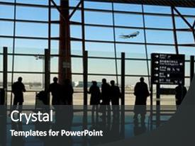 Audience pleasing PPT theme consisting of airplane travel - travelers silhouettes at airport backdrop and a dark gray colored foreground.