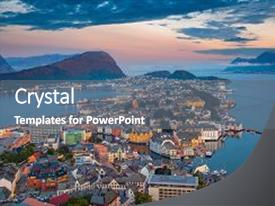 Presentation design consisting of alesund norway cityscape image of background and a gray colored foreground.