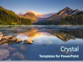 PPT theme having alps europe artistic picture beauty background and a ocean colored foreground