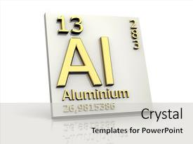 presentation design consisting of aluminum form periodic table of elements 3d made background and a