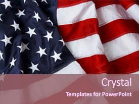 Presentation having american flag background - shot background and a violet colored foreground.