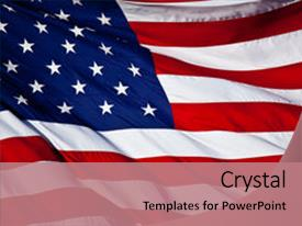 Beautiful slide deck featuring american flag background waving backdrop and a coral colored foreground.