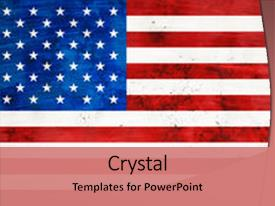 Beautiful PPT theme featuring american flag background backdrop and a coral colored foreground.