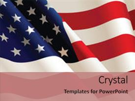 Beautiful PPT theme featuring american flag color illustration backdrop and a coral colored foreground.