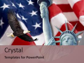 Theme having american flag flying bald eagle background and a coral colored foreground.