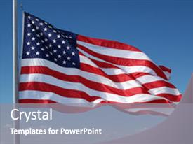 Theme enhanced with american flag flying with blue background and a gray colored foreground.