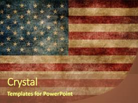 Presentation with american flag on the stained background and a tawny brown colored foreground.