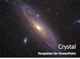 PPT theme having andromeda galaxy background and a dark gray colored foreground