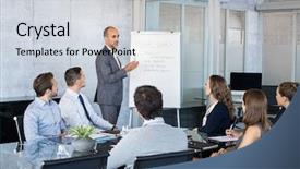 Audience pleasing PPT theme consisting of annual goals with employees leadership backdrop and a light gray colored foreground