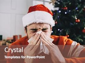 Amazing presentation having another close up of a young man suffering from nasal infection he is sneezing and using white tissue for that it s not a good pleasure to be sick during christmas holidays backdrop and a violet colored foreground.