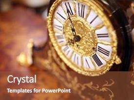 Presentation theme with antique ornate clock background for time concept background and a  colored foreground.