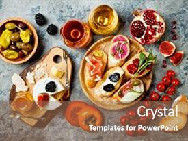 5000 italian powerpoint templates w italian themed backgrounds cool new slides with appetizers table with italian antipasti snacks and wine in glasses brushetta or toneelgroepblik Images