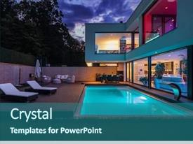 Cool new theme with architecture - modern villa with colored led backdrop and a ocean colored foreground