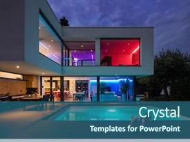 PPT theme consisting of architecture - modern villa with colored led background and a ocean colored foreground