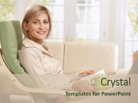 Presentation theme enhanced with armchair at home reading background and a soft green colored foreground.
