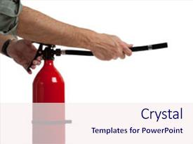 Colorful slide deck enhanced with arms acitivating a fire extinguisher backdrop and a sky blue colored foreground.