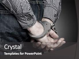 Beautiful PPT theme featuring arrest arrested dui hands violence backdrop and a dark gray colored foreground.