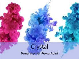 PPT theme having art - acrylic colors and ink background and a light blue colored foreground