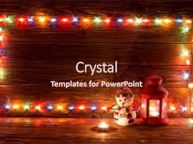 Amazing PPT theme having merry - art - christmas lights backdrop and a wine colored foreground.