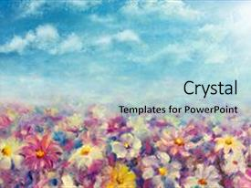 Presentation theme consisting of art - flowers field at sunrise background and a light blue colored foreground.