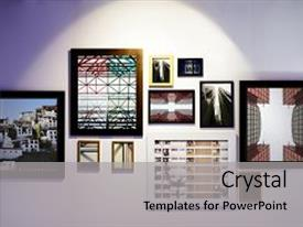 Art powerpoint templates ppt themes with art backgrounds colorful slide deck enhanced with gallery frames backdrop and a light gray colored toneelgroepblik Gallery
