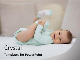 Presentation consisting of art - playful baby lying down background and a light gray colored foreground.