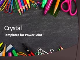 Cool new PPT theme with art - school supplies double border backdrop and a dark gray colored foreground.