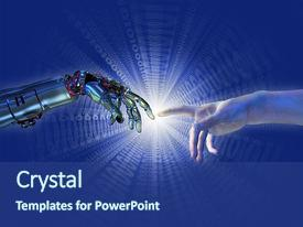 5000 artificial intelligence powerpoint templates w artificial colorful slide deck enhanced with artificial intelligence robot and human hands almost backdrop and a toneelgroepblik Gallery