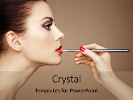 Presentation theme with artist applies lipstick beautiful woman background and a coral colored foreground.