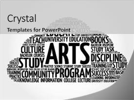 Cool new slides with arts word cloud collage education backdrop and a light gray colored foreground.
