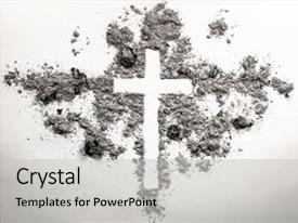 Beautiful slide deck featuring ash dust as christian backdrop and a light gray colored foreground.