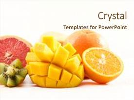 Presentation theme enhanced with assorted fresh fruits background and a cream colored foreground.