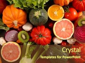 Colorful PPT theme enhanced with fresh fruits vegetables - assorted raw fruit and vegetable backdrop and a tawny brown colored foreground