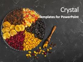 Colorful PPT theme enhanced with fruits - assortment of dried fruit backdrop and a dark gray colored foreground.