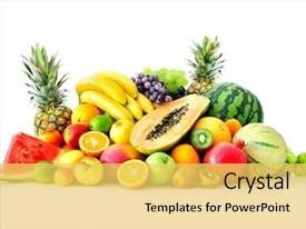 Beautiful slides featuring assortment of exotic fruits isolated backdrop and a yellow colored foreground