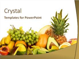 PPT layouts enhanced with assortment of fresh fruits isolated background and a cream colored foreground.