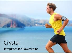 Audience pleasing PPT theme consisting of athlete running man - male runner backdrop and a light blue colored foreground