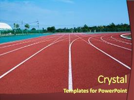Slide deck enhanced with athlete track or running track background and a tawny brown colored foreground.