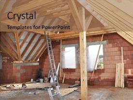 Beautiful PPT theme featuring truss - attic construction building attic interior backdrop and a coral colored foreground.