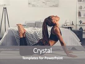 PPT theme with woman practicing yoga in cobra background and a gray colored foreground.