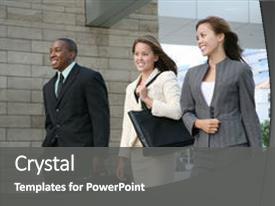 Beautiful PPT theme featuring attractive business team walking composed backdrop and a dark gray colored foreground.